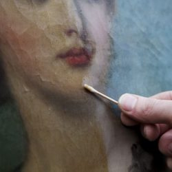 oil painting half way clean