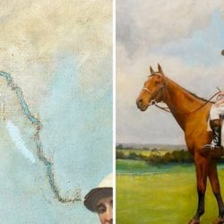 before and after of restored oil painting of jockey on horse