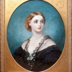 oil painting portrait of woman in gold oval mounted frame