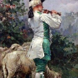 Stolen painting of boy with lamb