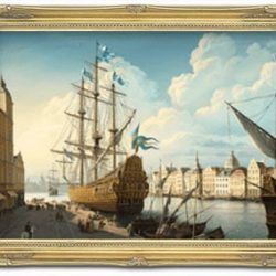 tall ship oil paining in frame