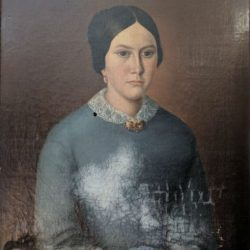 Water damaged oil painting before restoration
