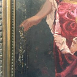 Damaged paint on oil painting before restoration