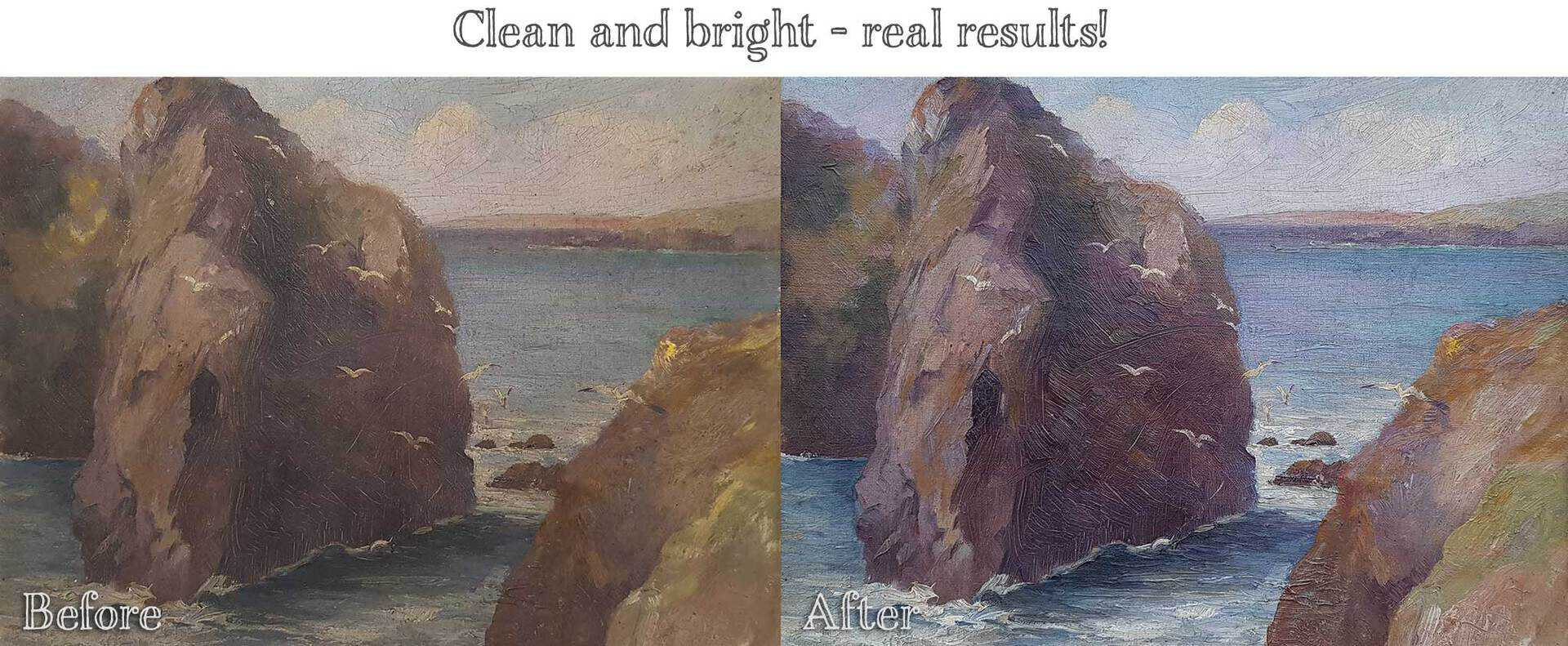 Before and After - Oil Painting Cleaning Results