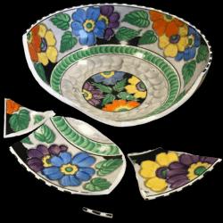 Broken bowl before restoration