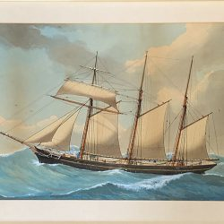 Watercolour of ship with staining before restoration