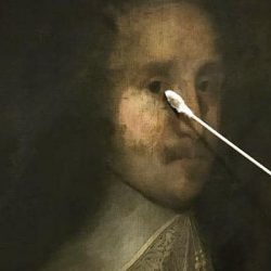 Cleaning portrait of man with a swab