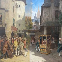 Oil Painting Restoration - Scene from a Town