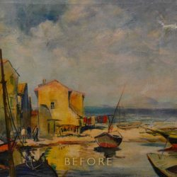 Restoration of Torn Painting Landscape - Before