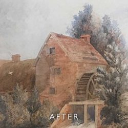 After restoration with foxing removed of Watermill