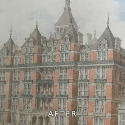 After restoration on watercolour of hotel