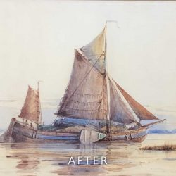 After restoration of staining on boat watercolour