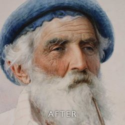 After restoration of foxing on a watercolour portrait