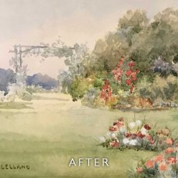 After restoration of watercolour garden scene