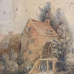 Before restoration of foxing on watercolour of Watermill