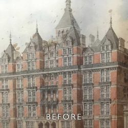 Before restoration of foxing on watercolour of hotel