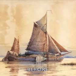 Before restoration of staining on boat watercolour