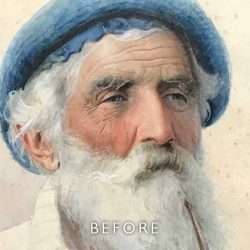 Before restoration of foxing on a watercolour portrait