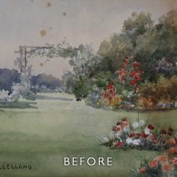 Before restoration of foxing on a garden scene watercolour