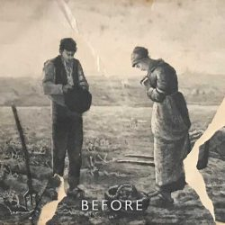 Before restoration on tear repair on lithograph