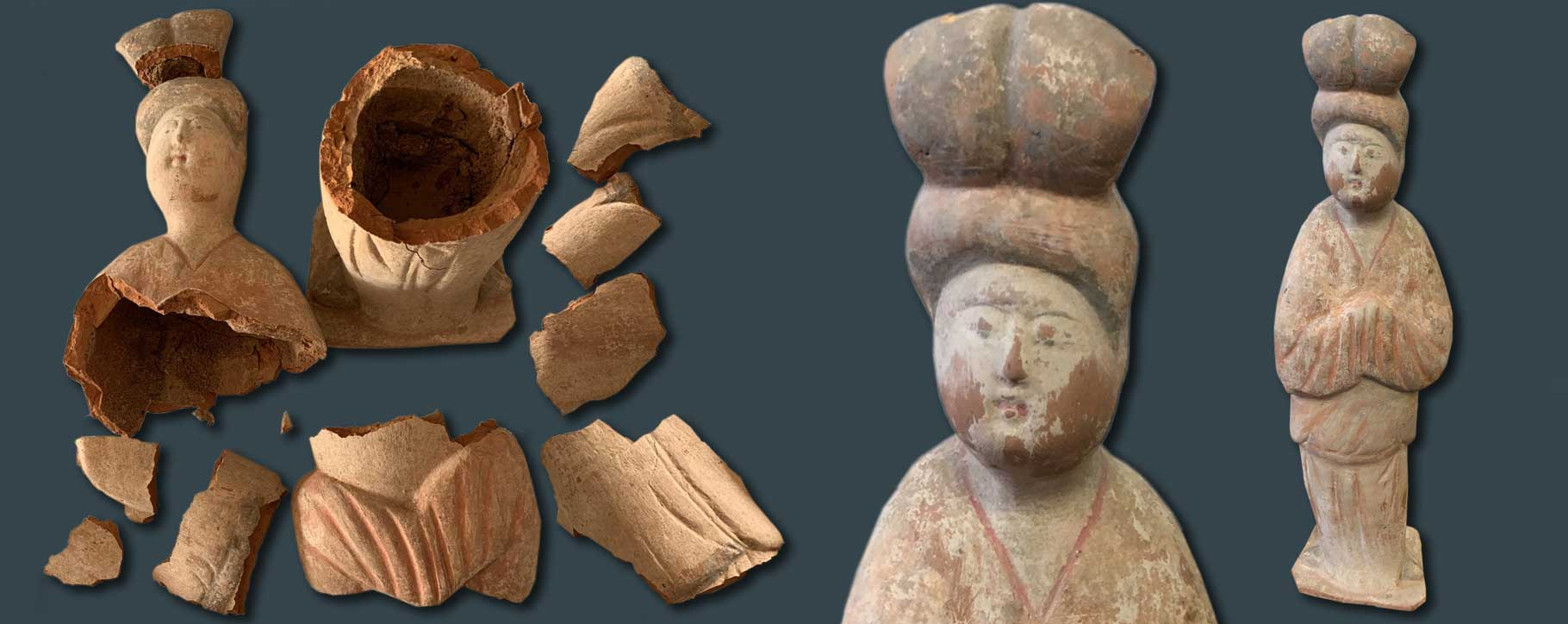 oriental terracotta figure before and after restoration