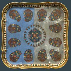Halfway through restoration of ceramic tray