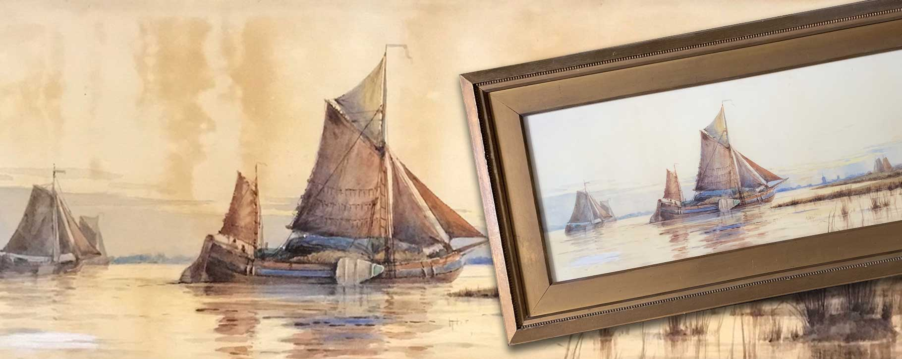 Before and after restoration of boat watercolour with acid staining