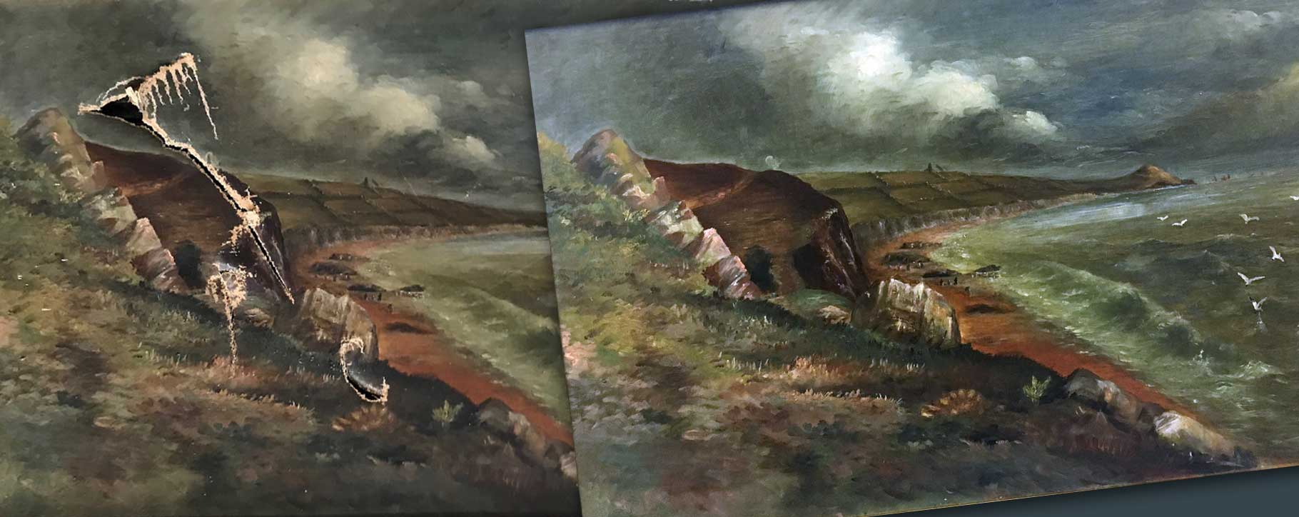 Before and after restoration of tear repair to coastal scene oil painting