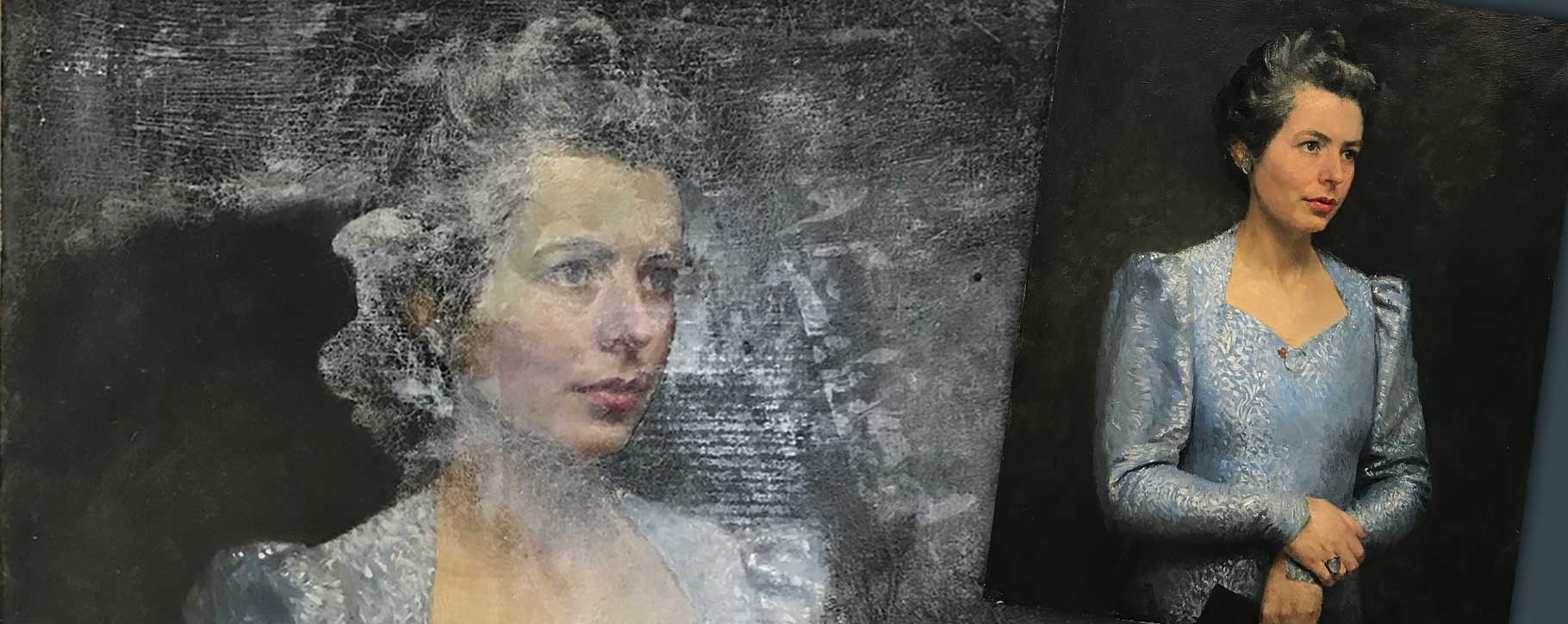 Water damaged oil painting portrait before and after restoration