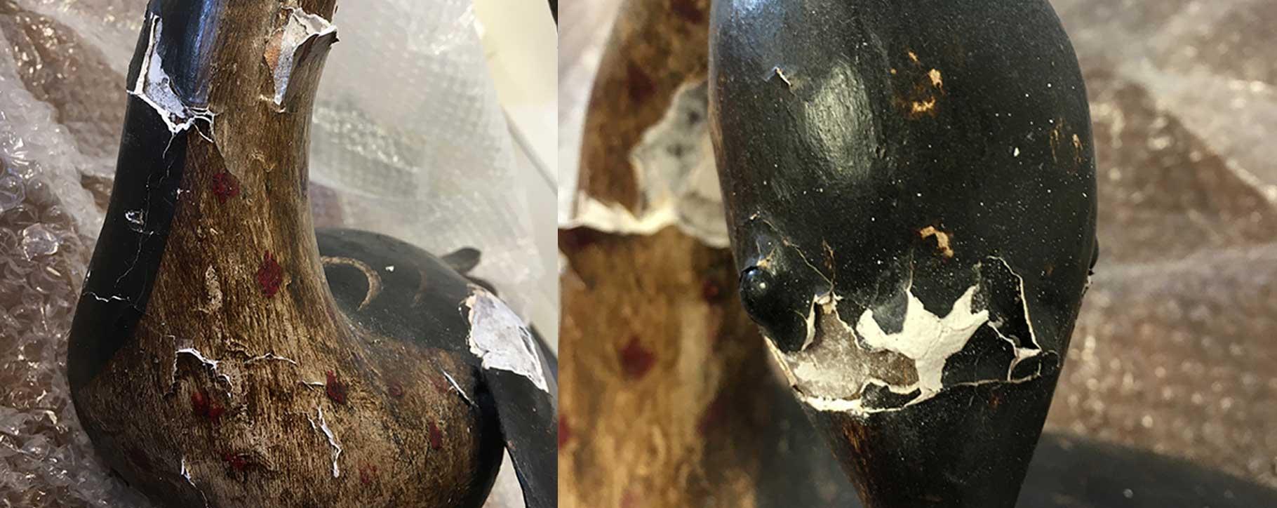 Close ups of damage to a ceramic bird