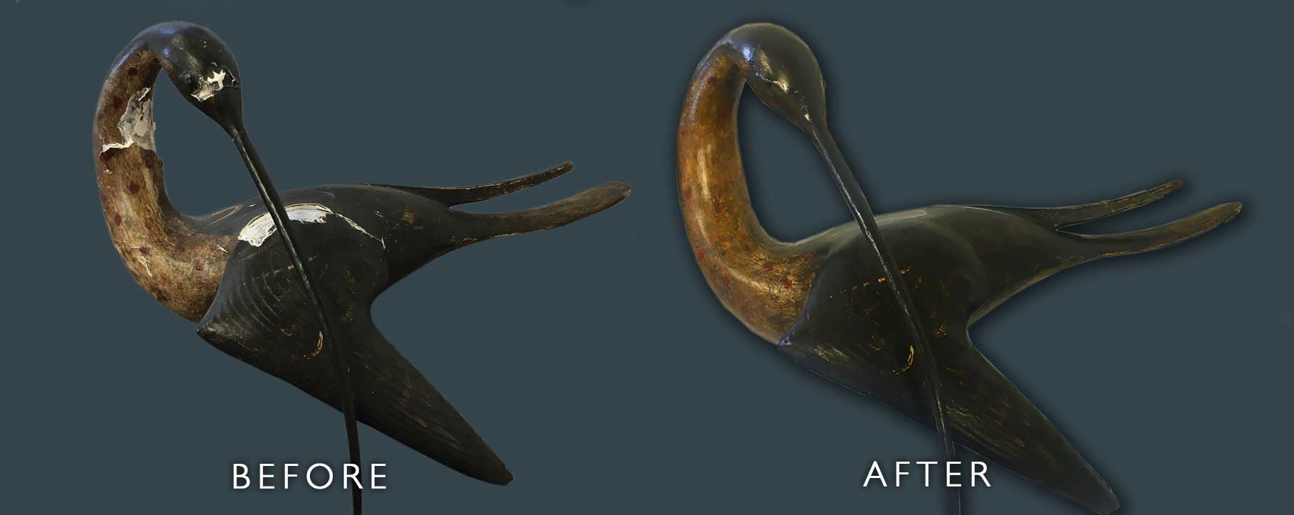 Before and after of restored ceramic bird