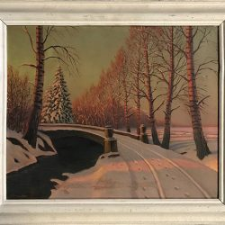 Oil painting of a snowy scene with a badly repaired tear prior to our restoration