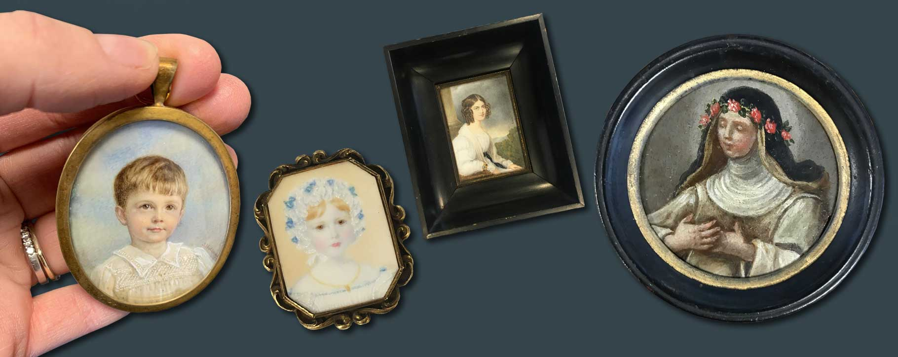 Collection of portrait miniatures being restored