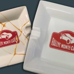 Close up of Rallye Monte Carlo ceramic ashtray before and after restoration