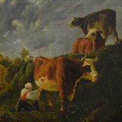 Detail of cows on an old oil painting