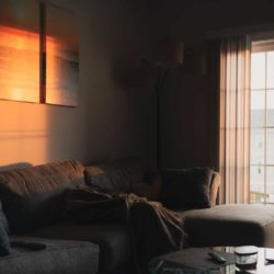 Living room with sunlight on art