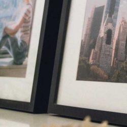 Close up of framed photographs