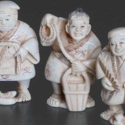 Close up of ivory figurines
