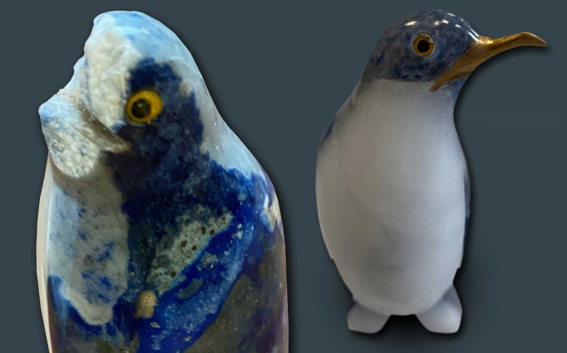 Before and after of broken ceramic penguin