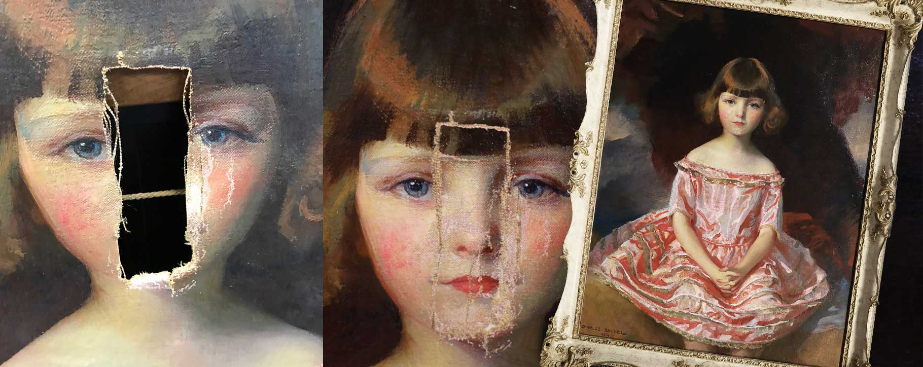 Before, during and after of damaged oil painting of girl