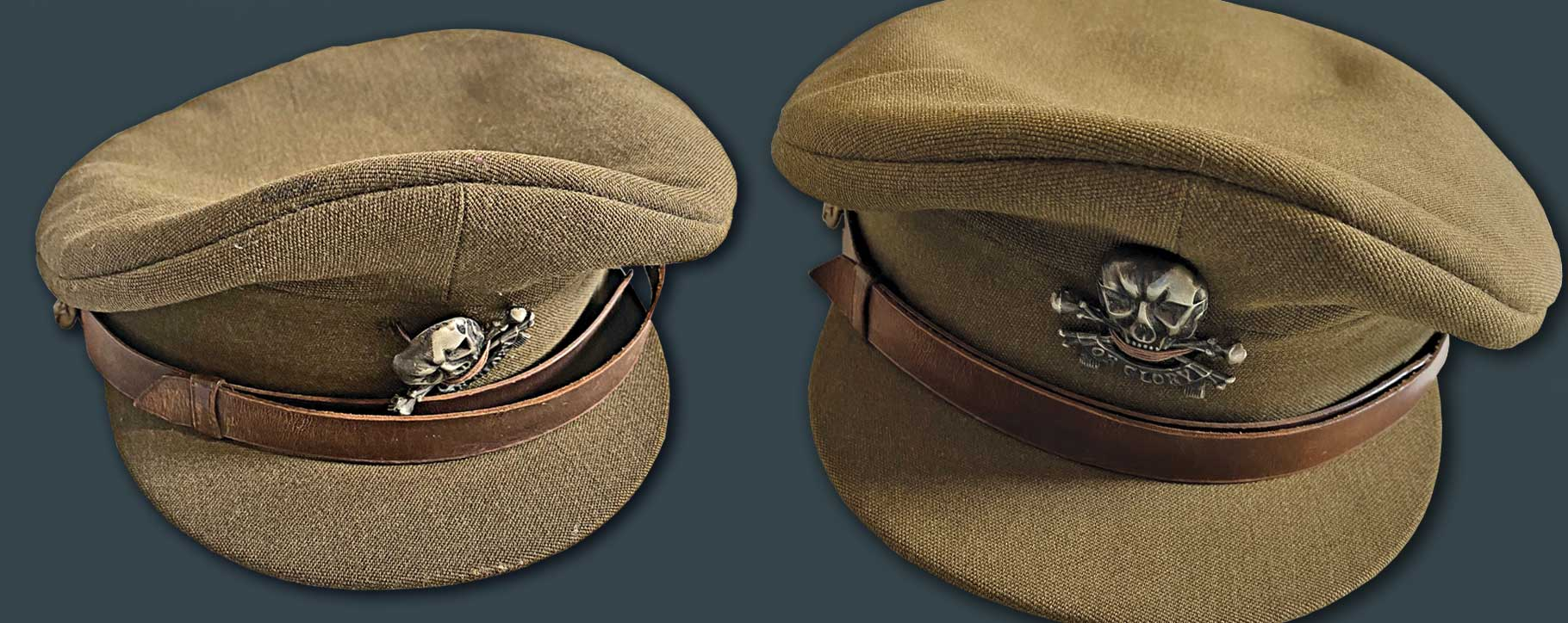 Before and after of a military cap