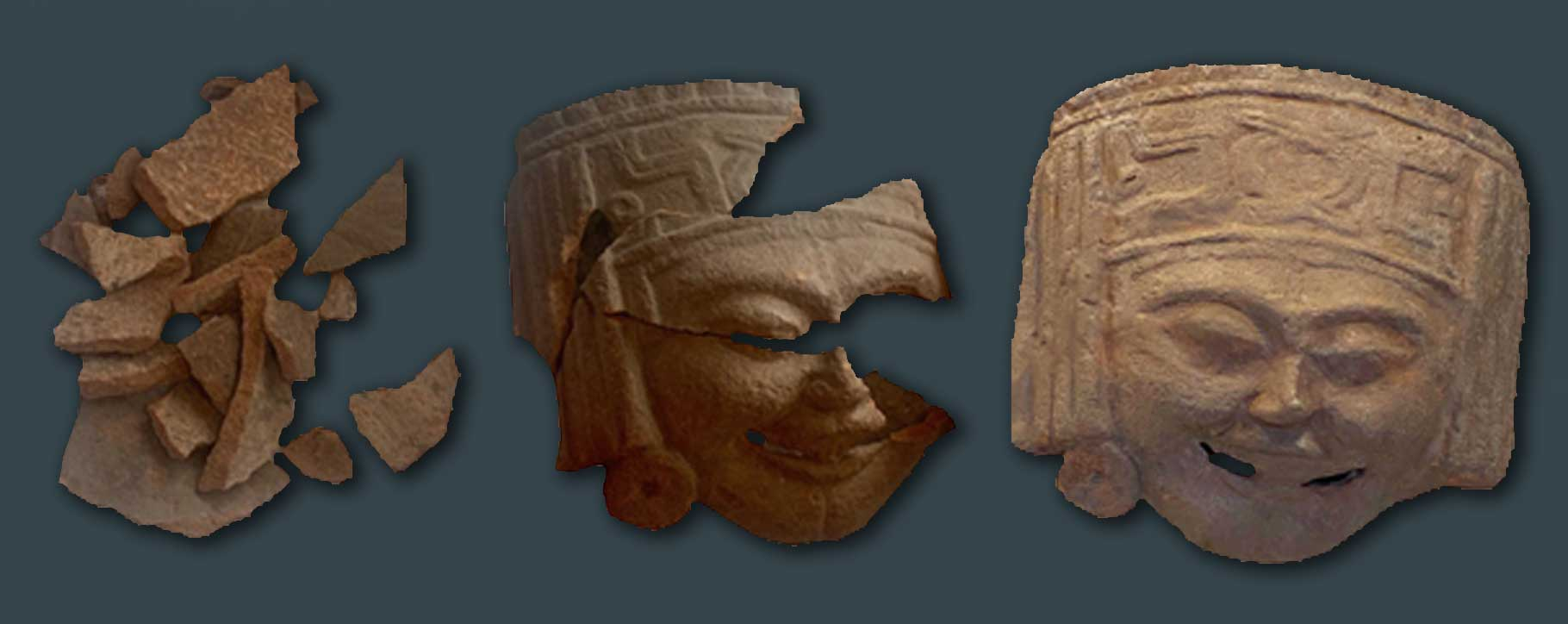 Terracotta mask before and after