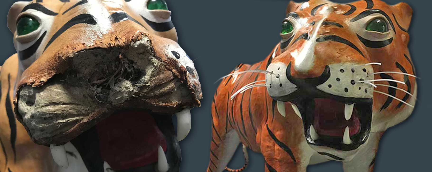 Paper Mache tiger before and after best of 2020