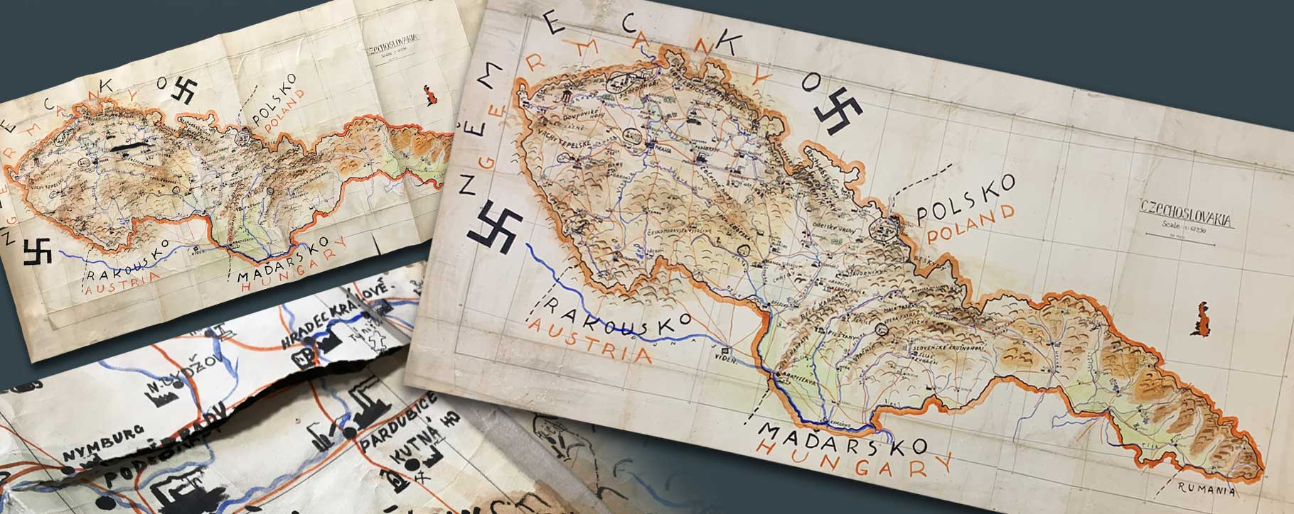 german Nazi map before and after restoration