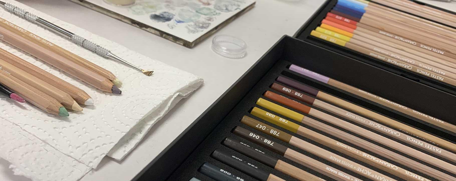 pastel pencils ready for restoration