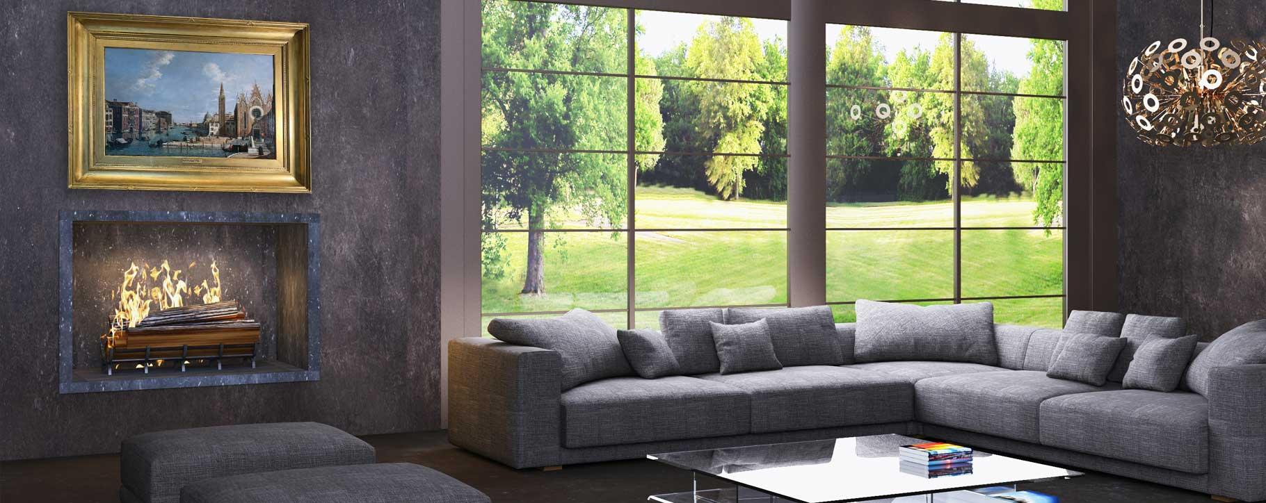 grey living room art over fire