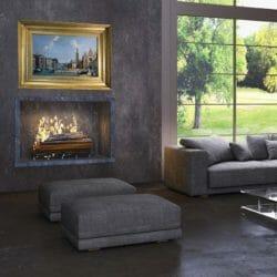 art over a fireplace