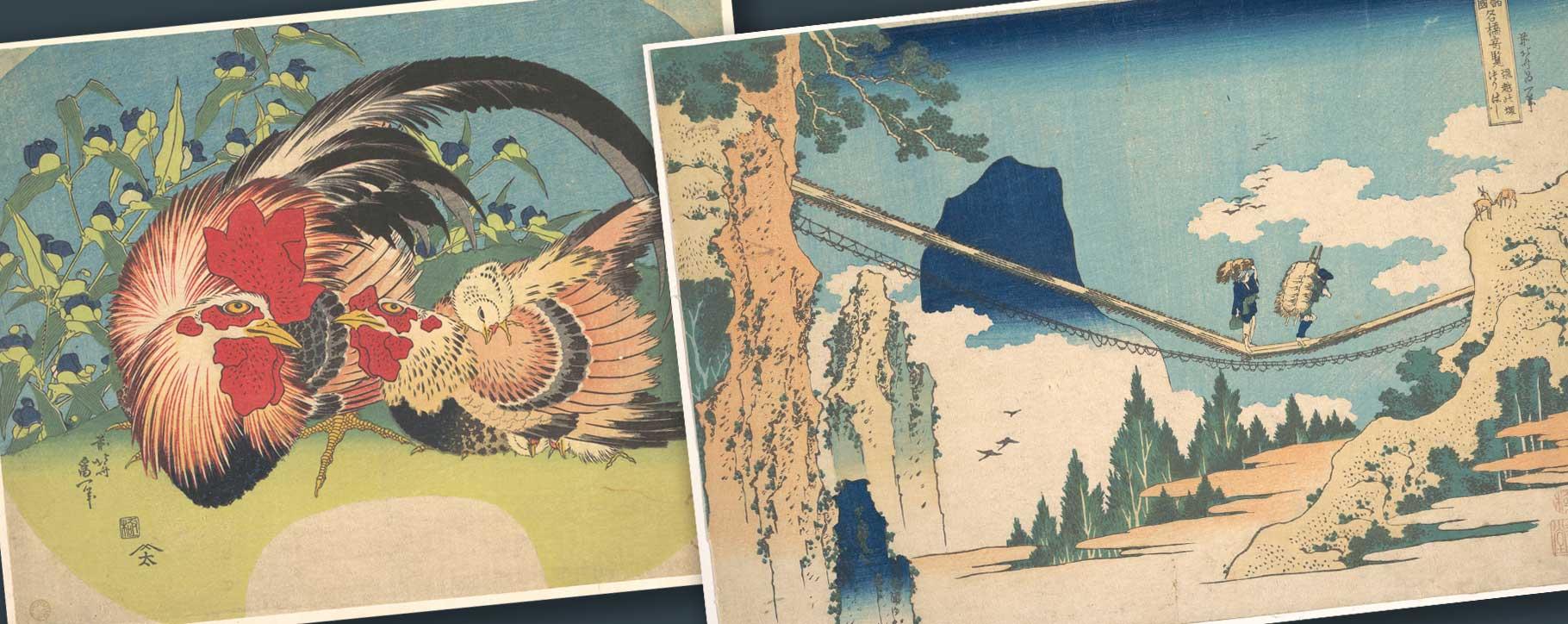 japan chickens and bridge prints