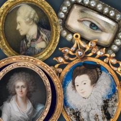 three miniature oil paintings