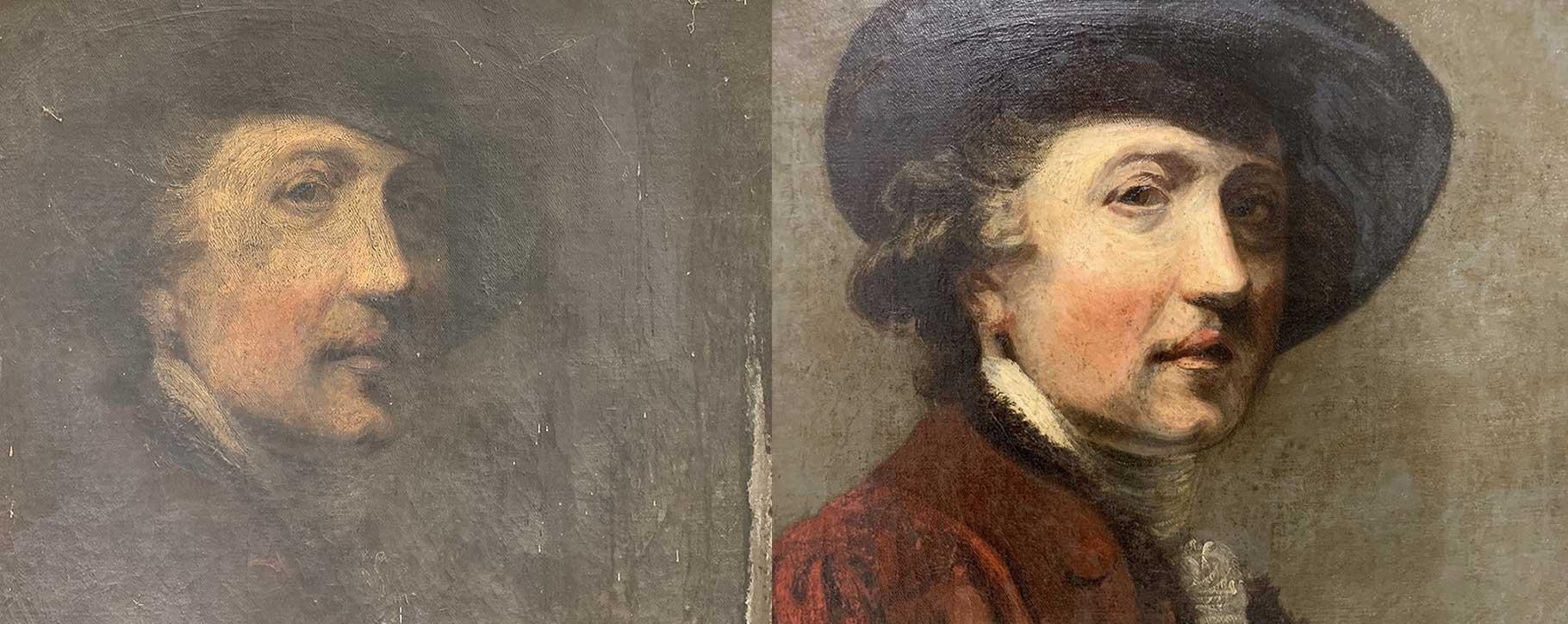 hidden features - a face on double canvas